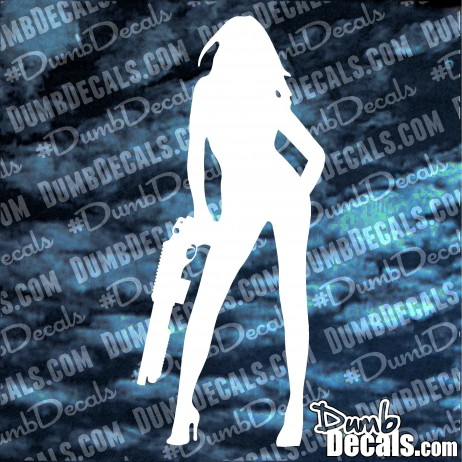 Girl with shotgun Decal