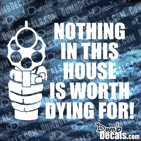 Nothing in this house is worth dying for Decal