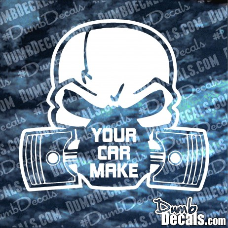 Skull with pistons Custom Any Car Make Decal