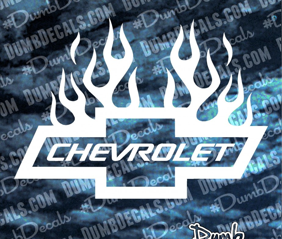 Chevy Bowtie with Flames Decal - DumbDecals com