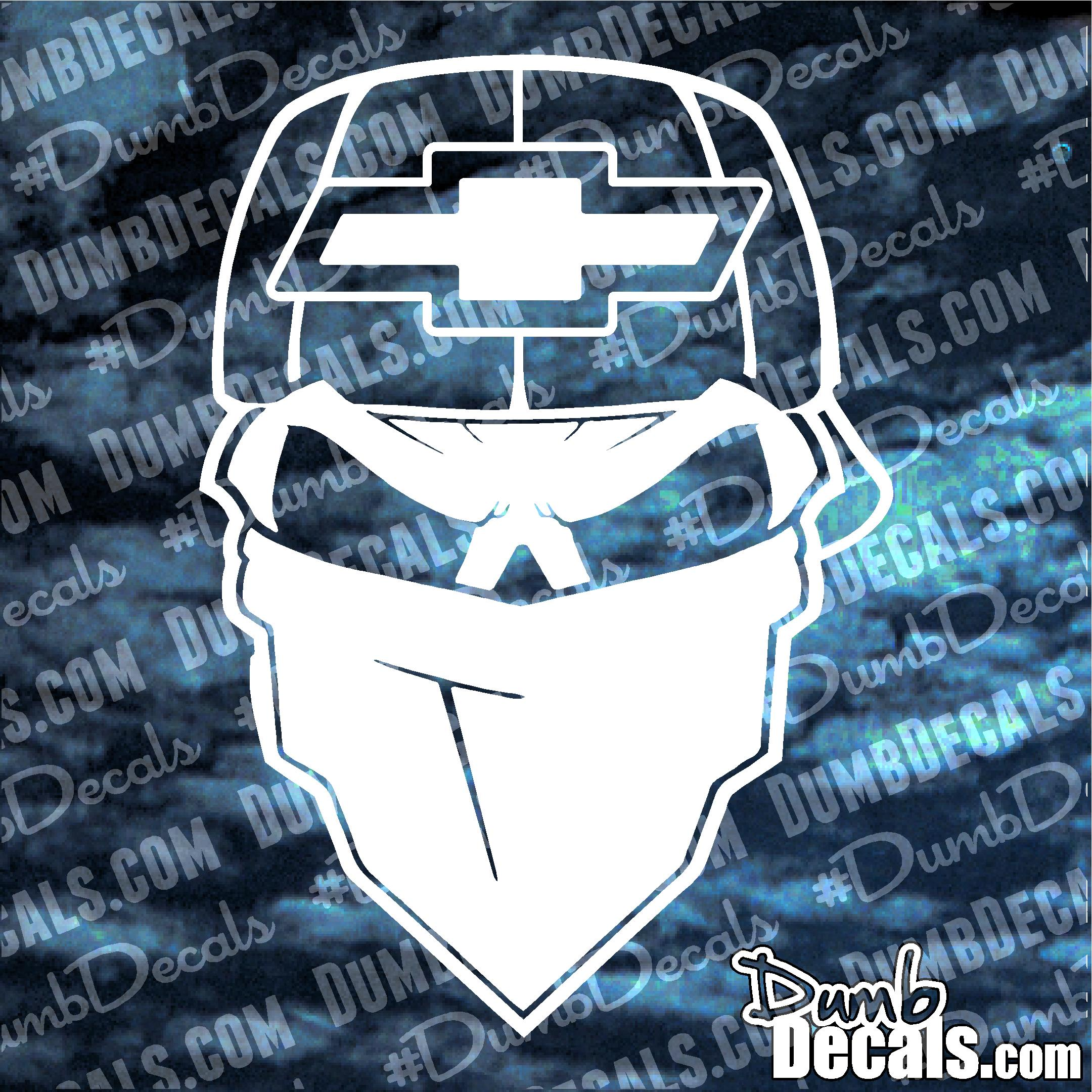 chevy skull with bandana and hat decal