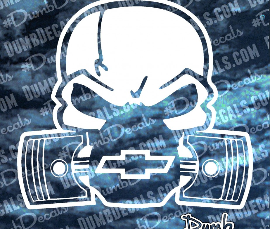 Custom Skull With Pistons Decal Dumbdecals Com
